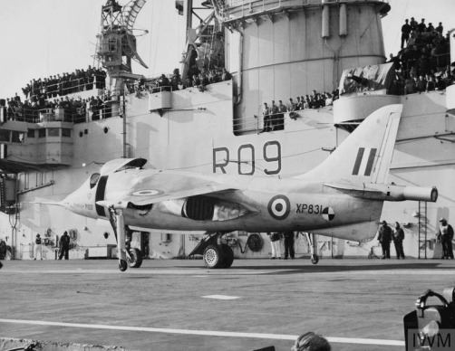 HAWKER P1127 TRIALS ON AIRCRAFT CARRIER ARK ROYAL. FEBRUARY 1963
