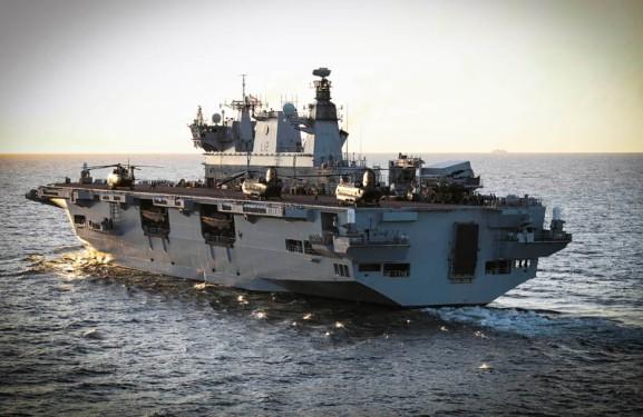 HMS Ocean at sea.