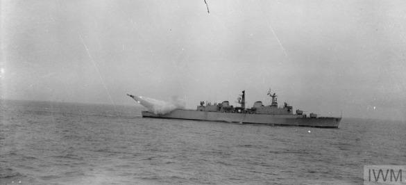 FIRST SEA SLUG IN NEW GUIDED MISSILE DESTROYER. MAY 1962, THE RO