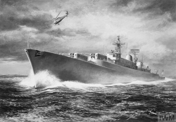 ARTIST IMPRESSION OF NAVY GUIDED MISSILE DESTROYER. NOVEMBER 195