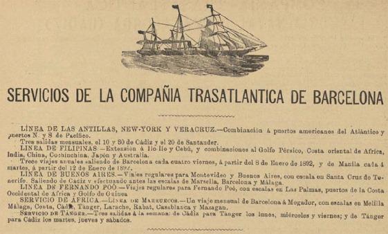 Servicios de la Compañia Transatlantica de Barcelona