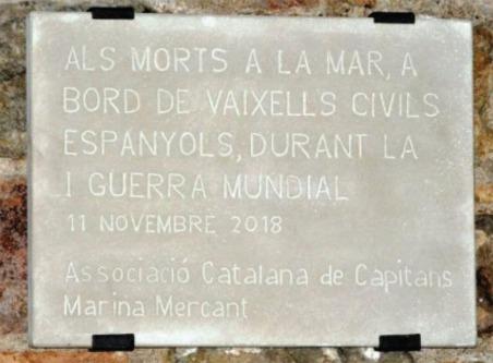 Placa conmemorativa Marina Mercante WW1