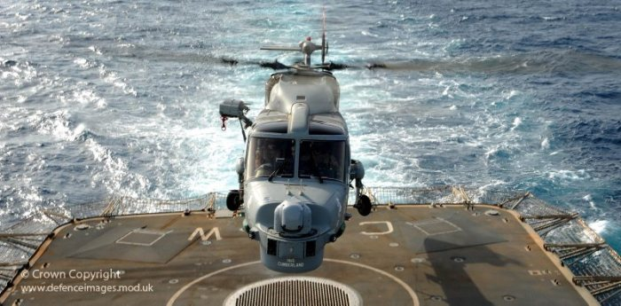 A Lynx MK8 Helicopter Lands Onboard HMS Cornwall